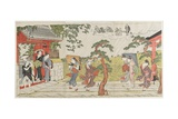 Sudden Shower at the Mimeguri Shrine, 1787 Giclee Print by Torii Kiyonaga