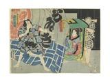 Ichikawa Kakitsu and Sawamura Noshi in the Kabuki Play Suibo Daigo Do_No Nozarashi, December 1865 Giclee Print by Utagawa Kunisada II