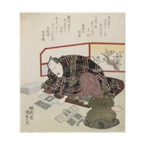 Ichikawa Danjuro VII Preparing New Year's Gifts, 1829-1830 Giclee Print by Utagawa Kunisada