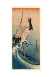 Nami Ni Tsuru, Crane in Waves. [Between 1833 and 1835], 1 Print : Woodcut, Color ; 37.4 X 16.5 Giclee Print by Utagawa Hiroshige