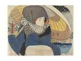 Woman Wearing Hood with Umbrella, 1818 Giclee Print by Utagawa Kunisada