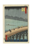 Distant View of Atake in Evening Shower over the Ohashi Bridge, September 1857 Giclee Print by Utagawa Hiroshige