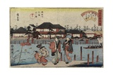 Crossing the Sumida River at Hashiba, the Restaurant Yanagiya, 1830-1844 Giclee Print by Utagawa Hiroshige