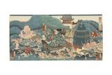 Dragon God Rewarding Hidesato with Three Gifts, April 1858 Giclee Print by Utagawa Kuniyoshi