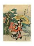 Karasaki No Yoru No Ame Giclee Print by Utagawa Kuniyasu