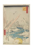 Lumberyard in Fukagawa, August 1856 Giclee Print by Utagawa Hiroshige