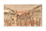Ukie Sakaicho Fukiyacho Kaomise Yorushibai No Zu Giclee Print by Utagawa Toyoharu