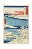 Morning after Snow at Sumida River in Musashi Province, August 1853 Giclee Print by Utagawa Hiroshige