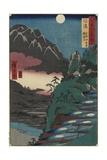 Moon Reflections on Rice Paddys at the Foot of Kyodai Mountain, Shinano Province, July 1853 Giclee Print by Utagawa Hiroshige