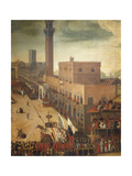 Bull Races in Piazza Del Campo in Siena Giclee Print by Vincenzo Rustici