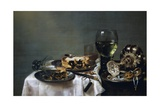 Breakfast Table with Blackberry Pie Giclee Print by Willem Claesz. Heda