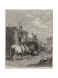 Haystacking Giclee Print by W.h. Hopkins