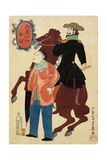 American Horseman and a Chinese, January 1861 Giclee Print by Utagawa Yoshiiku