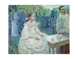 Self Portrait of the Artist with His Sister, Elena Borisova-Musatova, 1898 Giclee Print by Viktor Elpidiforovich Borisov-musatov