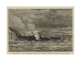 The Burning of the Training-Ship Warspite Off Woolwich, Sketched on the Day of the Disaster Giclee Print by Walter William May