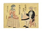 Dutch (Right), American Woman (Left) Giclee Print by Utagawa Yoshiiku