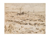 Fishing Boats at Saintes-Maries-De-La-Mer, 1888 (Pen and Ink and Pencil on Paper) Giclee Print by Vincent van Gogh