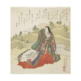 Court Lady and Two Rabbits, January 1831 Giclee Print by Utagawa Toyokuni