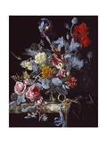 A Vase of Flowers with a Watch Giclee Print by Willem van Aelst