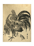 Niwatori, Hen and Chick. [Between 1804 and 1818], 1 Print : Woodcut, Color ; 22.1 X 17 Giclee Print by Utagawa Toyohiro