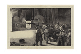 Working a Night Heat, the Great 35-Ton Steam Hammer at Woolwich Arsenal Giclee Print by William Bazett Murray