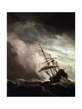 A Ship in Need in Raging Storm, 1680 Giclee Print by Willem Van De Velde II