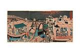 Toto Ryogokubashi Kawabiraki Han'Ei Zu Giclee Print by Utagawa Toyokuni