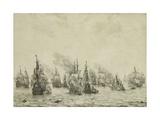 The Battle of Livorno or Leghorn, C.1659-99 Stampa giclée di Willem Van De Velde the Elder