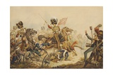 1st Life Guards Charging French Artillery at the Battle of Waterloo in 1815, 1820 Giclee Print by William Heath