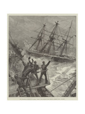 The Disastrous Hurricane in Samoa, Crew of the American Ship Trenton Cheering HMS Calliope Giclee Print by William Heysham Overend