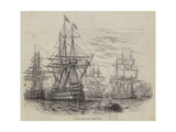 The British Fleet before Lisbon Giclee Print by William Henry Pike