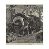 Boring the Trunnion Coil of the 81-Ton Gun at Woolwich Arsenal Giclee Print by William Heysham Overend