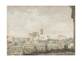 Temple of Venus and Rome, Rome, 1781 (W/C with Pen and Brown Ink over Pencil on Paper) Giclée-tryk af William Pars