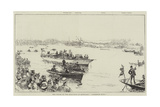 The Finish of the Boat-Race at Mortlake, Cambridge Wins! Giclee Print by William Heysham Overend