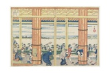 Getting Out the Rain by the Aji River at Tenpozan, 1834 Giclee Print by Yashima Gakutei