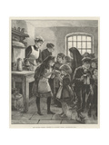 The Colliery Strikes, Distress in a Colliery Village, Distributing Soup Giclee Print by William Heysham Overend