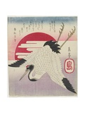 Flying Crane, Rising Sun, Mid 19th Century Giclee Print by Yashima Gakutei