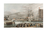 St. Katherine's Dock: Opening on 25th October 1828, Engraved by E. Duncan (Coloured Aquatint) Giclee Print by William John Huggins