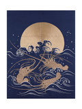 A Japanese Embroidered Textile Panel of Dark Blue Satin Depicting Three Crayfish Among Waves before Impression giclée