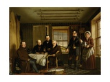 Discussing a Catch of Salmon in a Scottish Fishing-Lodge, C.1840 Giclee Print by William Shiels