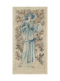 A Woman Playing Cymbals (Pen with Blue and Brown Ink and Watercolour on Discoloured Pale Buff Paper Giclee Print by William Morris