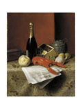 Still Life with Lobster, Fruit, Champagne and Newspaper, 1882 Giclee Print by William Michael Harnett