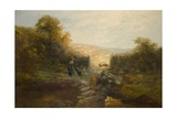 Shepherdess with Sheep Giclee Print by William Linnell
