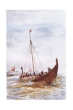Warship at the Time of King Alfred, 1915 Giclee Print by William Lionel Wyllie