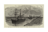 The Block in the Suez Canal, Procession of Steamers after the Renewal of Traffic Giclee Print by William Lionel Wyllie