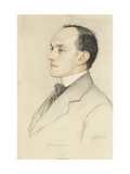 Portrait of Charles Francis Bell, 1913 (Coloured Crayons on a Pale Ochre Preparation) Giclee Print by William Strang
