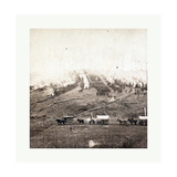 American Civil War: Three Horse-Drawn Covered Wagons in the Foreground. Soldiers Marching in Format Giclee Print