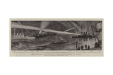 The Reserve Fleet Exercising their Search-Lights at Torbay Giclee Print by William T. Maud
