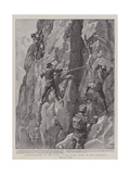 Mountaineering in the Tyrol, a Hazardous Climb on the Dolomites Giclee Print by William T. Maud