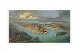 Bird's Eye View of New York City with the Hudson River and the New Jersey Waterfront on the Left Giclee Print